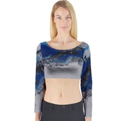 Blue Abstract No.4 Long Sleeve Crop Top