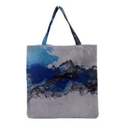 Blue Abstract No.4 Grocery Tote Bags