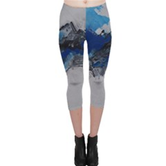 Blue Abstract No.4 Capri Leggings