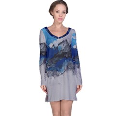 Blue Abstract No 4 Long Sleeve Nightdresses
