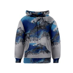 Blue Abstract No.4 Kids Zipper Hoodies