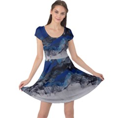 Blue Abstract No.4 Cap Sleeve Dresses