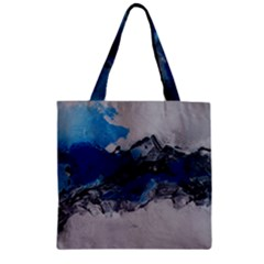 Blue Abstract No.4 Zipper Grocery Tote Bags