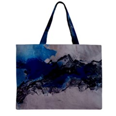 Blue Abstract No.4 Zipper Tiny Tote Bags