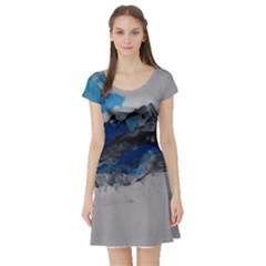 Blue Abstract No.4 Short Sleeve Skater Dresses