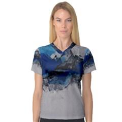 Blue Abstract No.4 Women s V-Neck Sport Mesh Tee