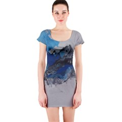 Blue Abstract No.4 Short Sleeve Bodycon Dresses