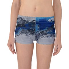 Blue Abstract No 4 Reversible Boyleg Bikini Bottoms