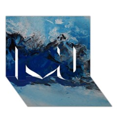 Blue Abstract No.5 I Love You 3D Greeting Card (7x5)