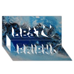 Blue Abstract No 5 Best Friends 3d Greeting Card (8x4)