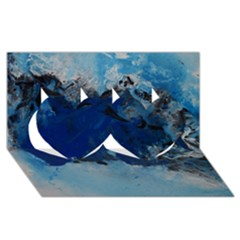 Blue Abstract No 5 Twin Hearts 3d Greeting Card (8x4)