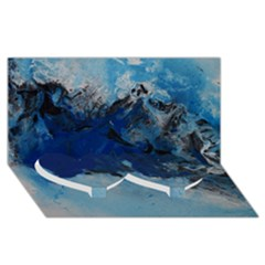 Blue Abstract No 5 Twin Heart Bottom 3d Greeting Card (8x4)