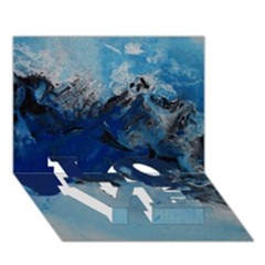 Blue Abstract No.5 LOVE Bottom 3D Greeting Card (7x5)