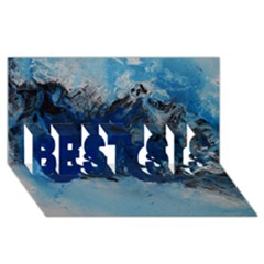 Blue Abstract No.5 BEST SIS 3D Greeting Card (8x4)