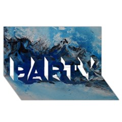 Blue Abstract No 5 Party 3d Greeting Card (8x4)