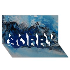 Blue Abstract No 5 Sorry 3d Greeting Card (8x4)