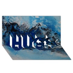 Blue Abstract No 5 Hugs 3d Greeting Card (8x4)