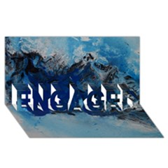Blue Abstract No.5 ENGAGED 3D Greeting Card (8x4)