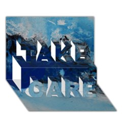 Blue Abstract No 5 Take Care 3d Greeting Card (7x5)