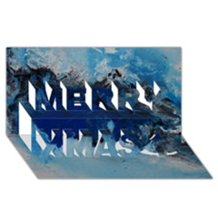 Blue Abstract No 5 Merry Xmas 3d Greeting Card (8x4)