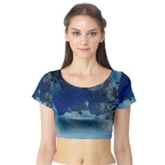 Blue Abstract No.5 Short Sleeve Crop Top