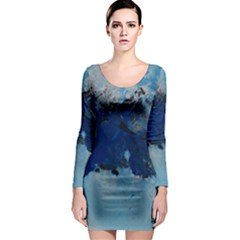 Blue Abstract No.5 Long Sleeve Bodycon Dresses