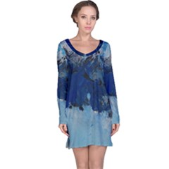 Blue Abstract No.5 Long Sleeve Nightdresses
