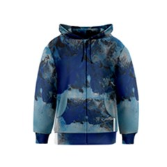 Blue Abstract No.5 Kids Zipper Hoodies