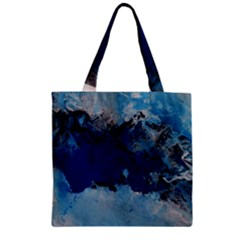 Blue Abstract No.5 Zipper Grocery Tote Bags