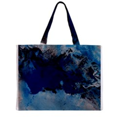 Blue Abstract No.5 Zipper Tiny Tote Bags