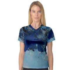 Blue Abstract No.5 Women s V-Neck Sport Mesh Tee