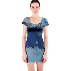 Blue Abstract No.5 Short Sleeve Bodycon Dresses