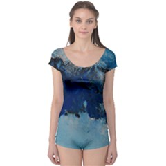 Blue Abstract No.5 Short Sleeve Leotard