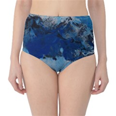 Blue Abstract No 5 High Waist Bikini Bottoms