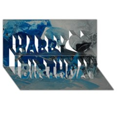 Blue Abstract No. 6 Happy Birthday 3D Greeting Card (8x4)