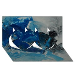 Blue Abstract No. 6 Twin Hearts 3D Greeting Card (8x4)