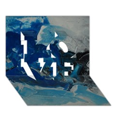 Blue Abstract No. 6 LOVE 3D Greeting Card (7x5)