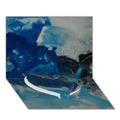 Blue Abstract No. 6 Heart Bottom 3D Greeting Card (7x5)
