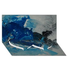 Blue Abstract No. 6 Twin Heart Bottom 3D Greeting Card (8x4)