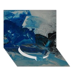 Blue Abstract No  6 Circle Bottom 3d Greeting Card (7x5)
