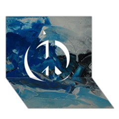 Blue Abstract No. 6 Peace Sign 3D Greeting Card (7x5)