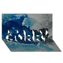 Blue Abstract No  6 Sorry 3d Greeting Card (8x4)