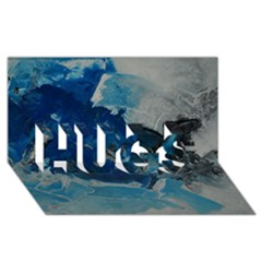 Blue Abstract No  6 Hugs 3d Greeting Card (8x4)
