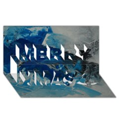 Blue Abstract No. 6 Merry Xmas 3D Greeting Card (8x4)