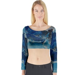 Blue Abstract No. 6 Long Sleeve Crop Top