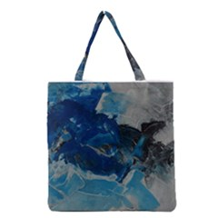 Blue Abstract No. 6 Grocery Tote Bags