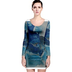 Blue Abstract No. 6 Long Sleeve Bodycon Dresses
