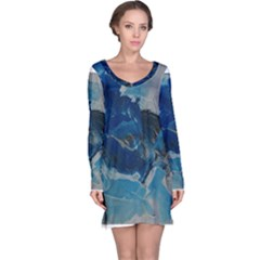 Blue Abstract No  6 Long Sleeve Nightdresses