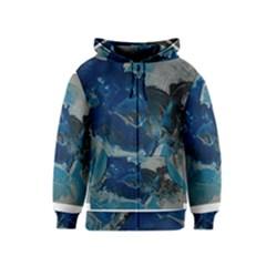 Blue Abstract No  6 Kids Zipper Hoodies