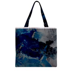 Blue Abstract No  6 Zipper Grocery Tote Bags